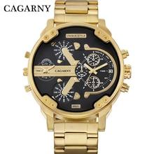 Cagarny роскошные мужские s часы лучший бренд большие корпусные кварцевые часы для мужчин золотой Стальной ремешок военный Relogio Masculino два раза часы