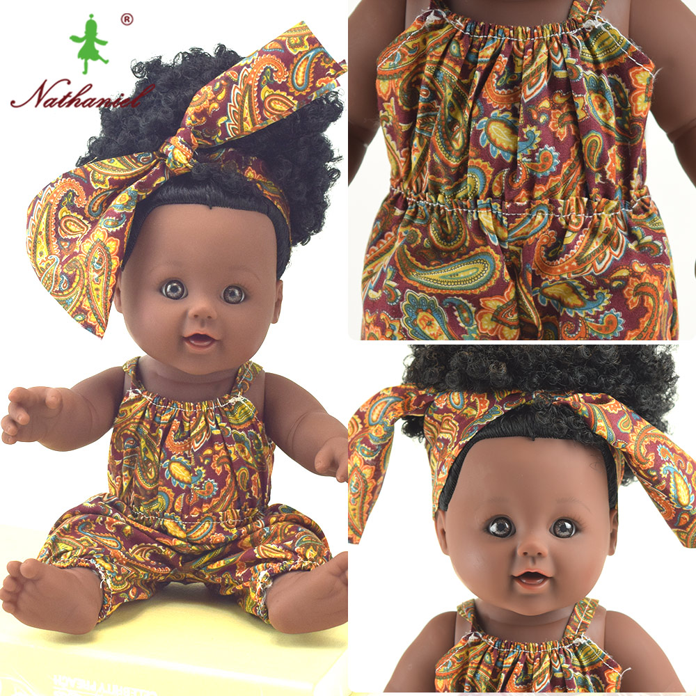 brazil 12inch black fashion baby dolls reborn silicone vinyl 30cm newborn Rapunzel cute baby soft toys toy girl kid Nathniel
