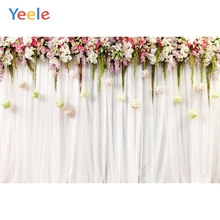 Yeele Wedding White Curtain Blossom Floral Garland Wall Photography Backgrounds Custom Photographic Backdrops For Photo Studio