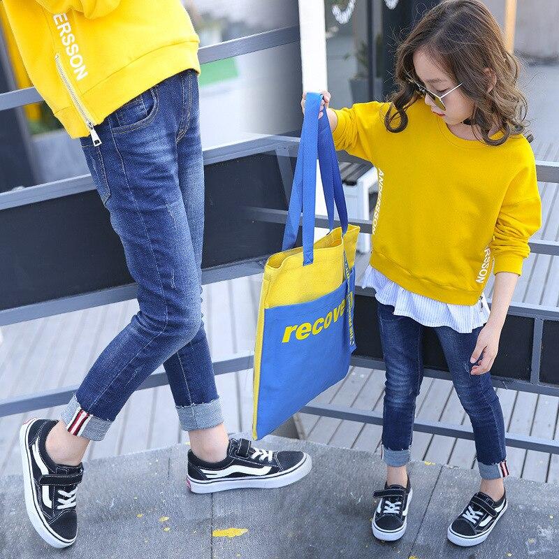 Garment 2017 Autumn New Pattern Elastic Force Pants Girl Self-cultivation Colour Bar Jeans Kids Trousers