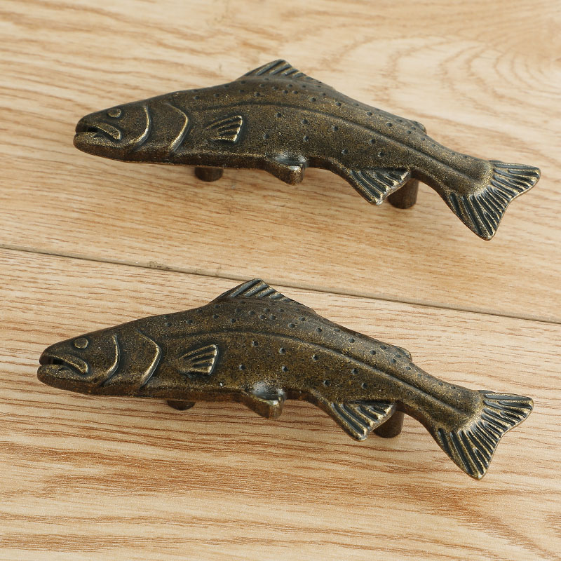 50mm retro style antiue brass fish type kitchen cabinet drawer handle pull bronze dresser cabinet knob handle 50mm retro style antiue brass fish type kitchen cabinet drawer handle pull bronze dresser cabinet knob handle