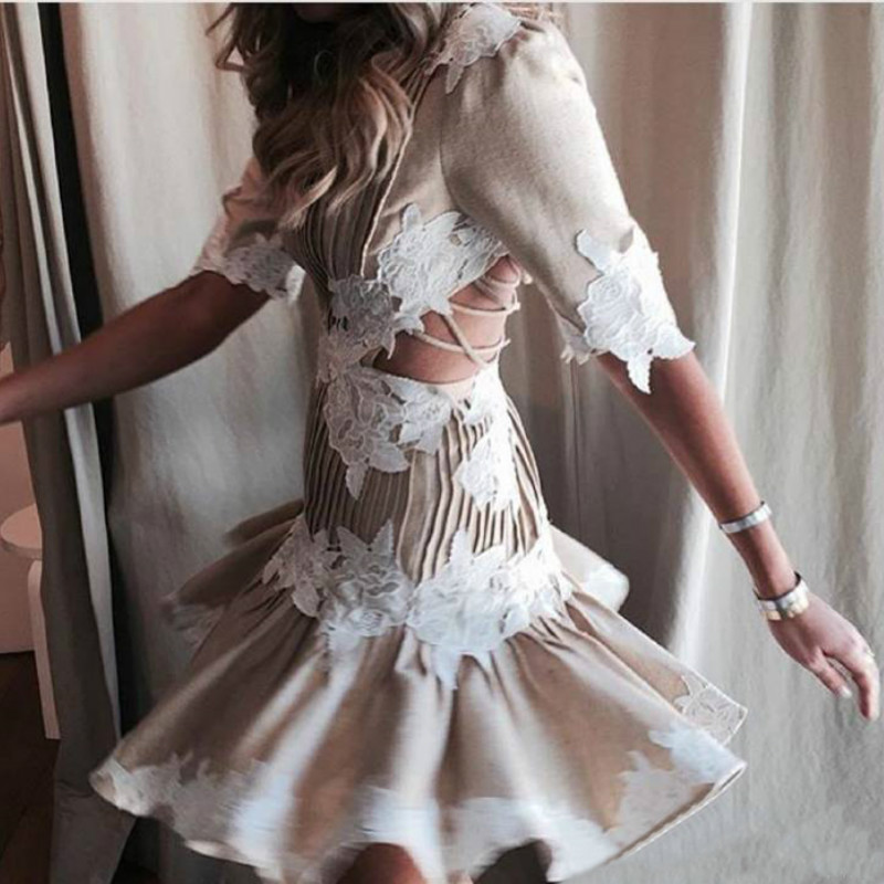 2019 Fashion Women Backless Sexy Embroidery Women A-line Dress