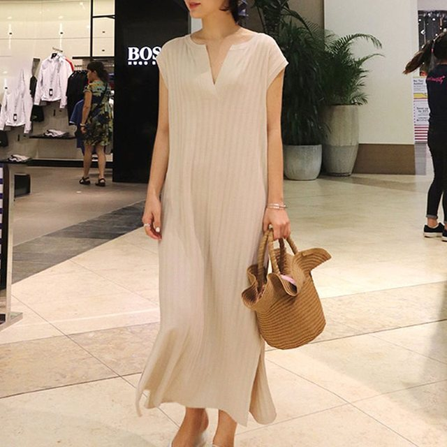 Elegant Simple Sweet Office Ladies Vintage Summer Korean Women Long Dresses Casual Split Straight Plain Female Retro Maxi Dress