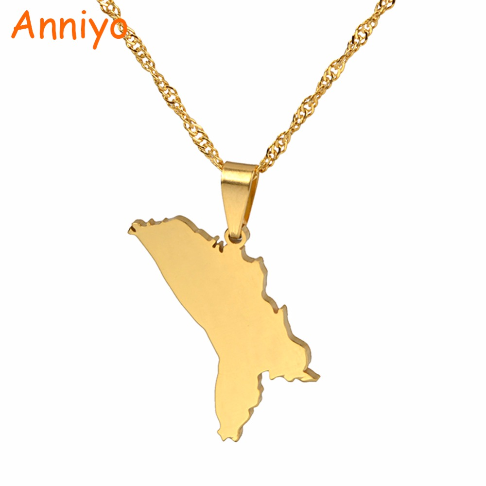 Anniyo The Republic of Moldova Map Pendant & Necklaces for Women Country Maps Jewelry Moldovan Gifts #022121 anniversary of the second republic zaire gifts
