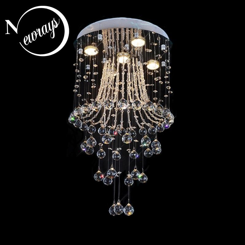 Crystal modern Europe traditional loft chandelier with GU10 4 lights for bedroom living room hotel lobby restaurant hall cafe