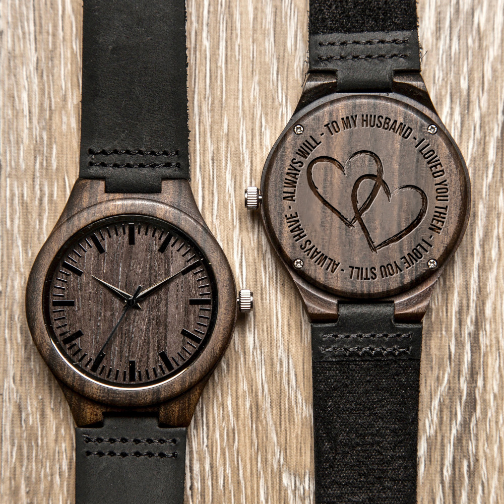 BOBOBIRD Custom Ebony Watch To Husband Personal Engrave Wood Wristwatch Best Gifts For Your Lover