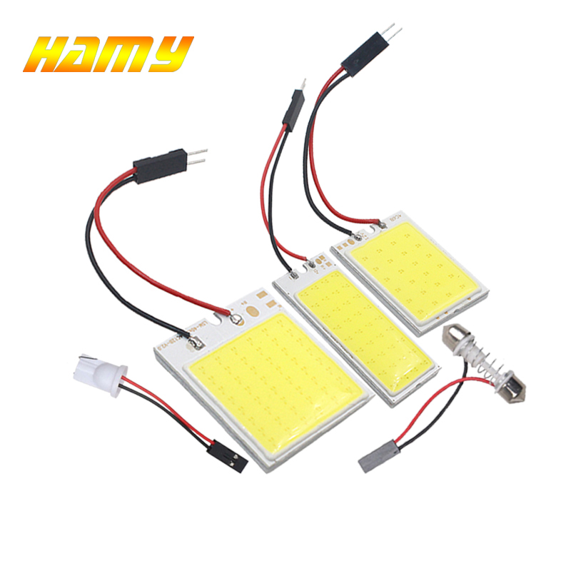 1x T10 W5W Led Bulb COB C5W Car Interior Dome Reading Light 12V Auto License Plate Luggage Trunk Lamp Festoon 31mm 36mm 39mm 42m