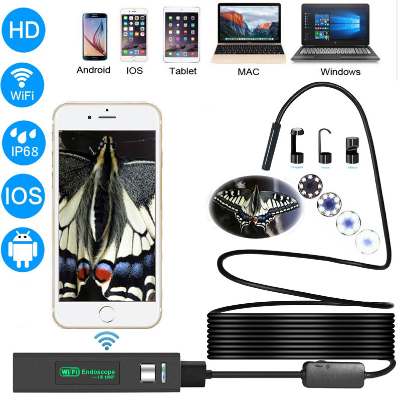 Zwn Wifi Endoscope HD 1200P Waterproof Hard Wire USB Inspection Mini Camera With 8mm lens and 8 LED Borescope For Android IOS PC zwn wifi endoscope hd 1200p waterproof hard wire usb inspection mini camera with 8mm lens and 8 led borescope for android ios pc