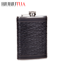 BIUBIUTUA Personalized Alcohol Flask 9oz Black Fluted Leather Stainless Steel Portable Hip Flask Best Valentine's Day Gift