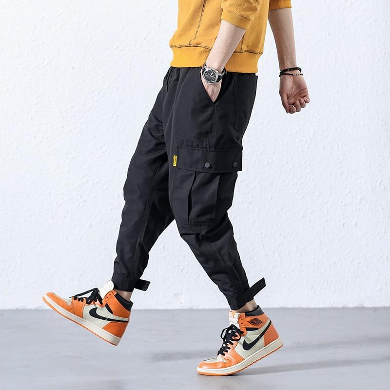 Loldeal hombres Harem pantalón Multi bolsillo Camouf moda Pantalones pies ocio pantalones Hip Hop pantalones de carga Streetwear