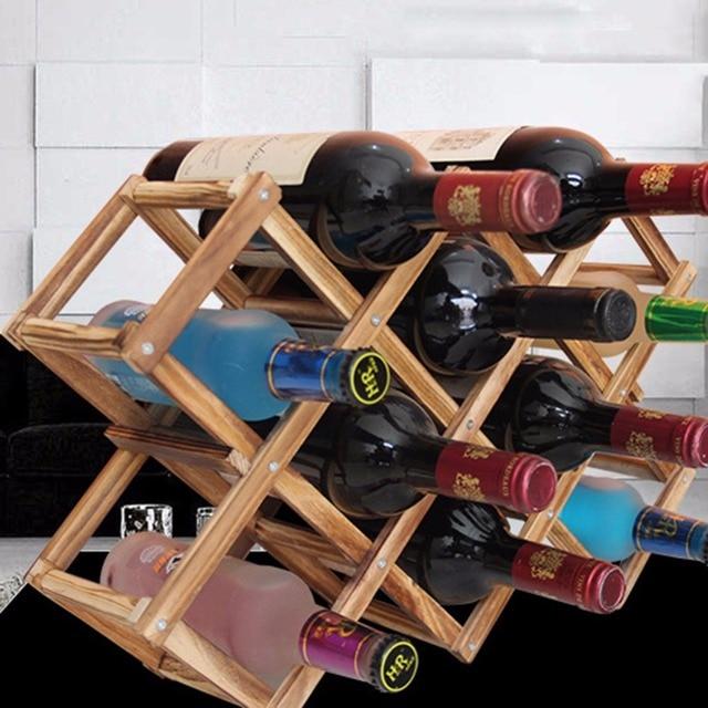 Creative Folding Solid Wood Red Wine Rack Wooden Champagne Holder 10 Bottle Mount White Exhibition Organizer Display Shelf