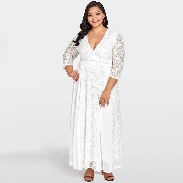 7c708945b4 Plus Size 5XL Fashion White Maxi Lace Chiffon Dress Deep V Neck 3 4 ...