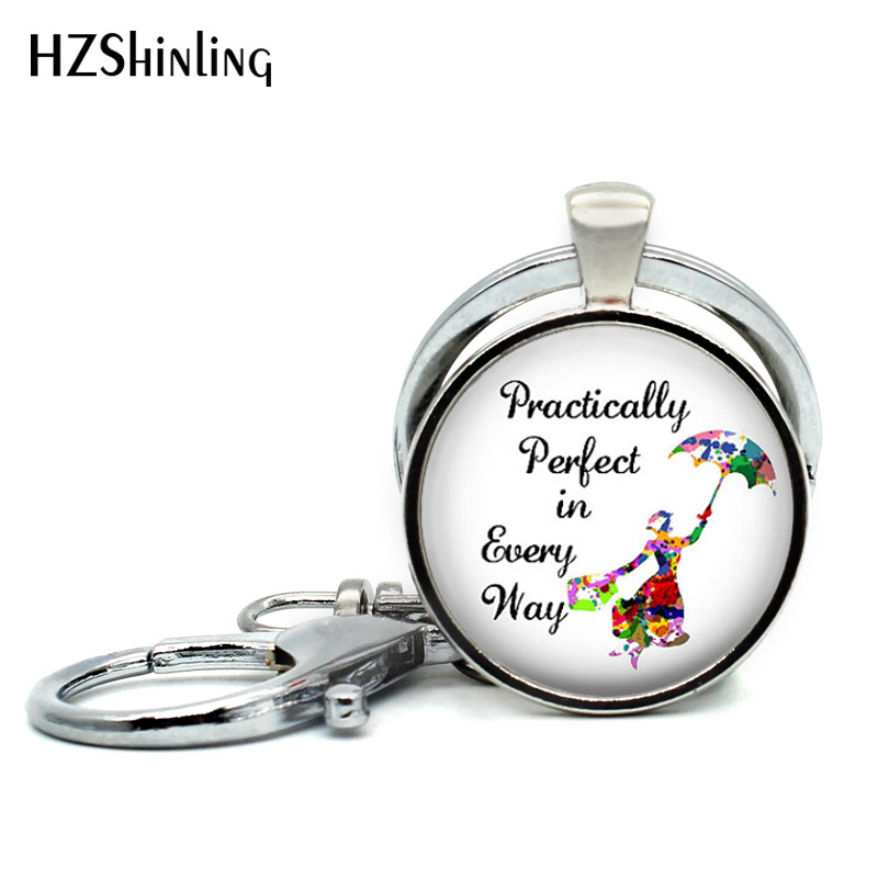 2018 New Arrival Mary Poppins Keychain Movie Poster Keyring Silver Glass Dome Key Chains Quote Keyrings Round Photo Jewelry
