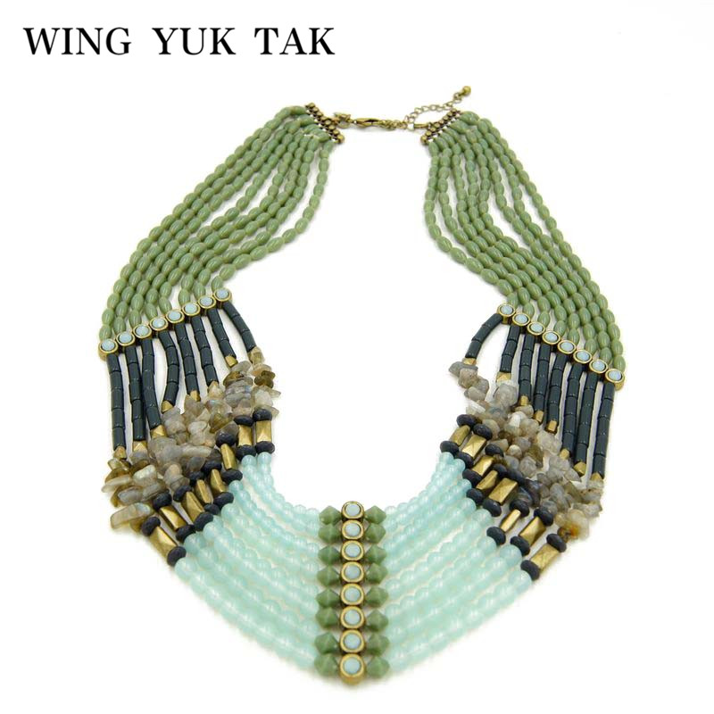 Fashion Exaggeration Bohemia Ethnic Bead Multilayer Chain Statement Maxi Necklace For Women Chokers Necklace Factory Wholesale