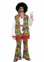 Free Shipping Mens Womens Groovy Hippy Flares Top Outfit 60s 70s Fancy Dress Hippie Adult Halloween
