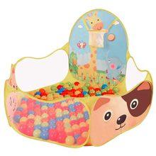 Baby Ball Pool Baby Play Tent Portable Baby Ball Ocean Pool and Basketball Hoop Animal Theme недорого