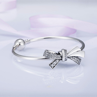 2018 Mother Day 925 Sterling Silver Bead Brilliant Bow Charm Fit Original Women Pandora Bracelet Bangle DIY Jewelry Only Bow.