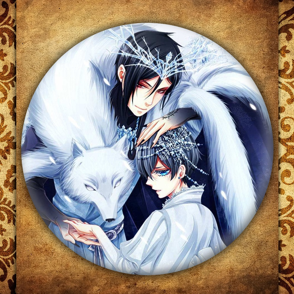 Anime Black Butler Display Badge Fashion Japanese Cartoon Figure Sebastian Michaelis Metal Brooch Pin Jewelry Accessories Gift in Brooches from Jewelry Accessories
