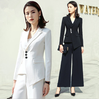 Fashion Designer White Pants Suit Single Breasted Notched Women Business Suits Formal Office Suits work Elegant Evening Pantsuit Top