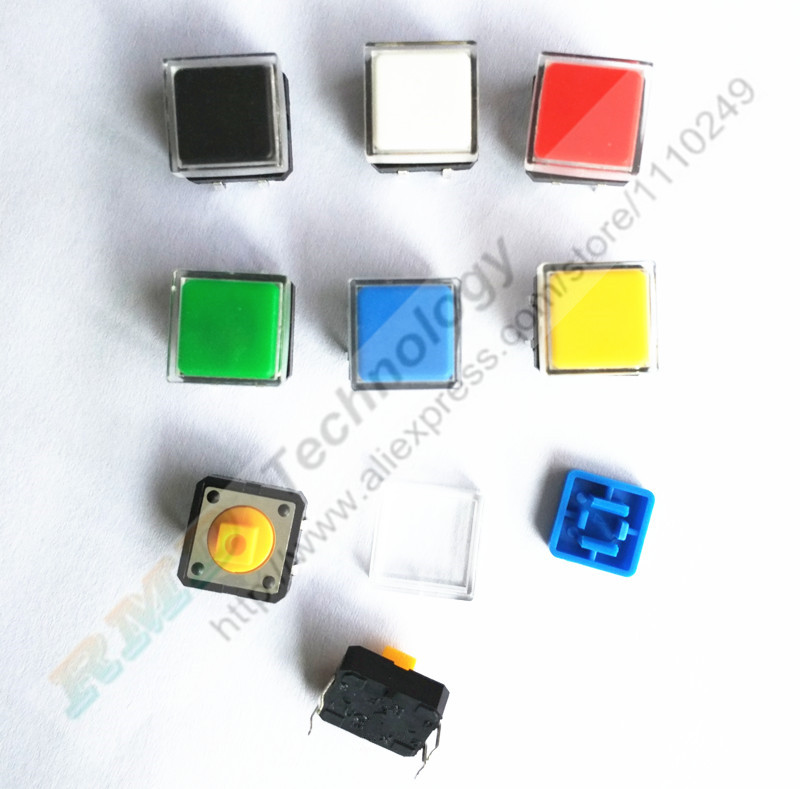 B3F Tactile Push Button Switch 50pcs + A14 color hat 50pcs + transparent cap 50pcs Momentary Tact 12x12x7mm DIP Through-Hole 50pcs bts462t