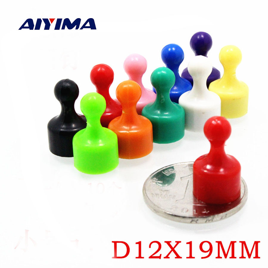 Aiyima 10Pcs Assorted Color Small Push Pins - High Grade Neodymium Magnets Strong Magnet 12*19mm small retractable plastic horn color assorted 5 pack