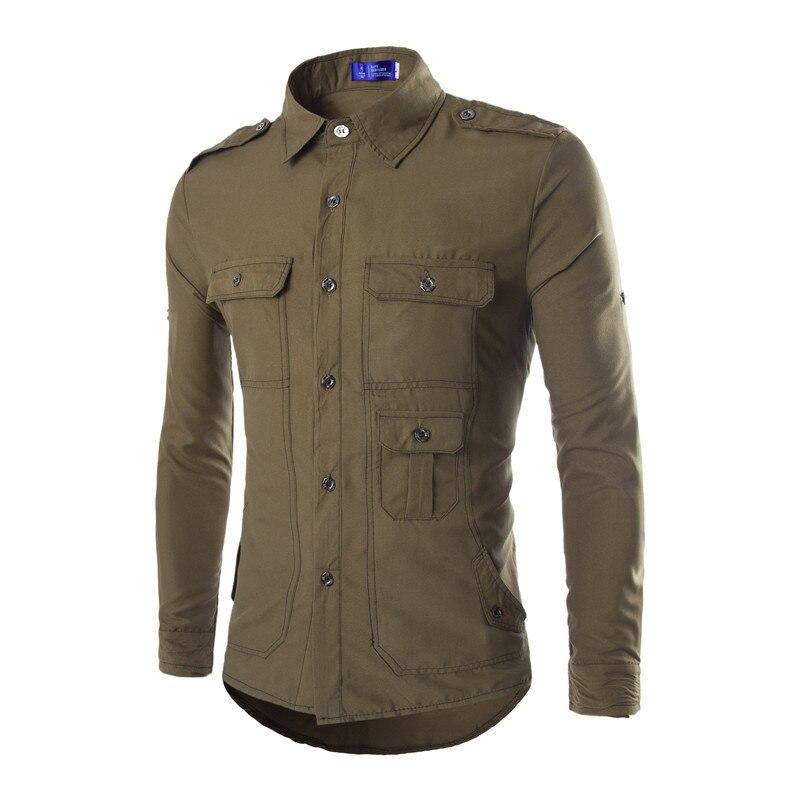 Popular military style mens shirts buy cheap military for Mens military style long sleeve shirts