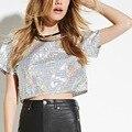 Rock de Moda de verano Bling Bling Del O Cuello de Manga Corta Con Lentejuelas Tee Shirt Silver Hologram Crop Tops Camiseta Mujeres Jóvenes Más tamaño
