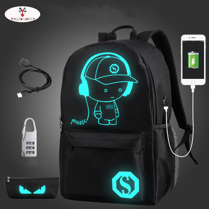 Raged Sheep School Backpack Student Luminous Animation School Bags For Teenager  USB Charge Computer Anti-theft Laptop Backpack men backpack student school bag for teenager boys large capacity trip backpacks laptop backpack for 15 inches mochila masculina