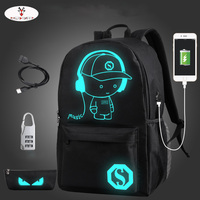 Raged Sheep School Backpack Student Luminous Animation School Bags For Teenager USB Charge Computer Anti