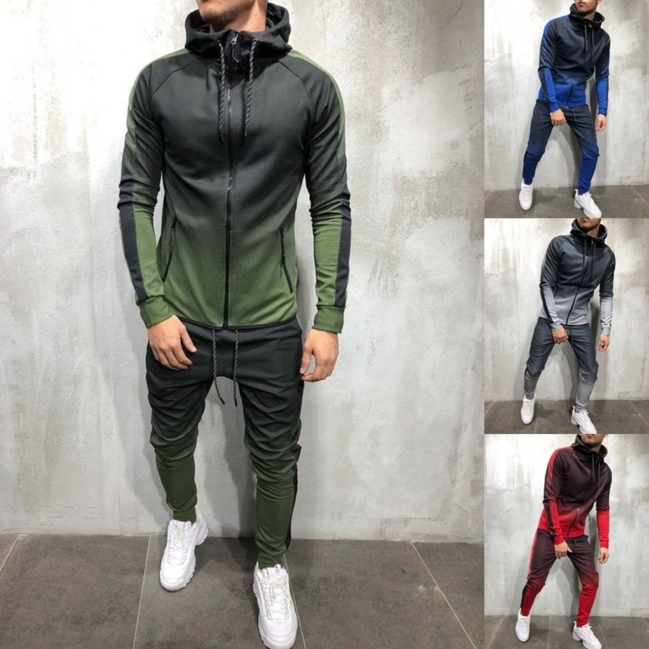 ZOGAA 2019 Autumn Men Fashion 3D Print Set Sweatshirt+Pants Suits Gradient Casual Jacket Trousers Tracksuit Streetwear Plus Size
