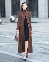 Casaco feminino 2018, женское осенне зимнее шерстяное длинное пальто макси, женский халат, верхняя одежда manteau femme