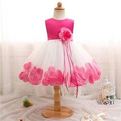 Meninas vestidos de verão tutu princesa bebê flor roupas pétala tule bebê formal vestido de festa para 0-2 anos crianças vestidos para meninas