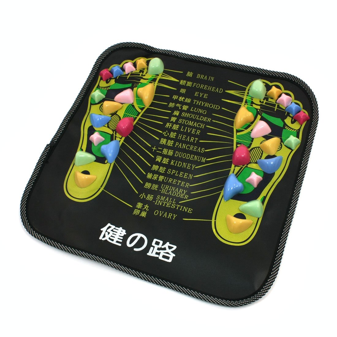 HTHL Chinese Health Care Colored Plastic Walk Stone Square Healthy Foot Massage Mat Pad Cushion цена