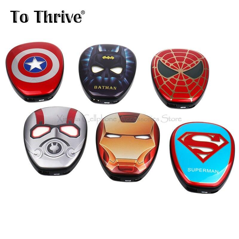 Real 6000 mAh Banco de Potencia Portátil Marvel Super Hero Venganza Alianza Capi