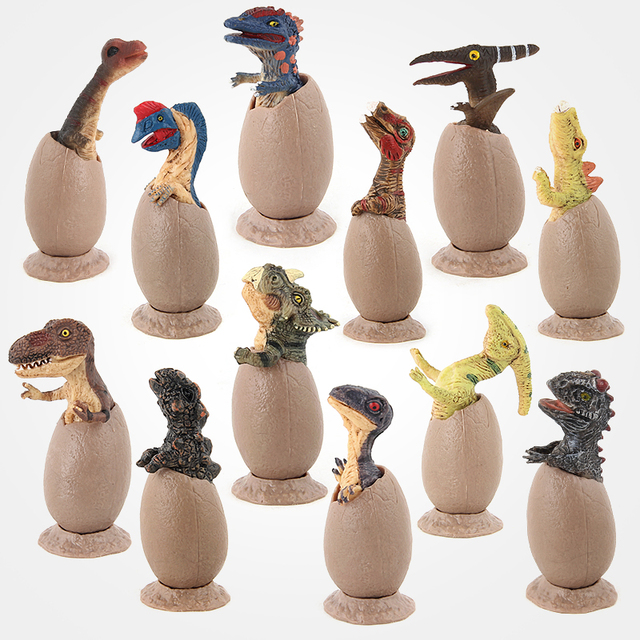 Oenux 12 pçs/set Original Novo Mundo Jurássico Semi Para Incubação de Ovos de Dinossauro Figuras de Ação T-REX Clássico Dos Desenhos Animados DO PVC Modelo Toy Kids