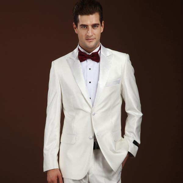 Блестящий Белый Смокинги для женихов индивидуальный заказ Для Мужчин s Костюмы  костюмы для выпускного женихов Для мужчин 2bdc028b351
