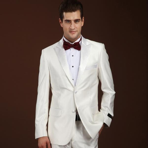 Shiny White Tuxedos Custom Made Men\'s Suits Prom Suits Groomsmen ...