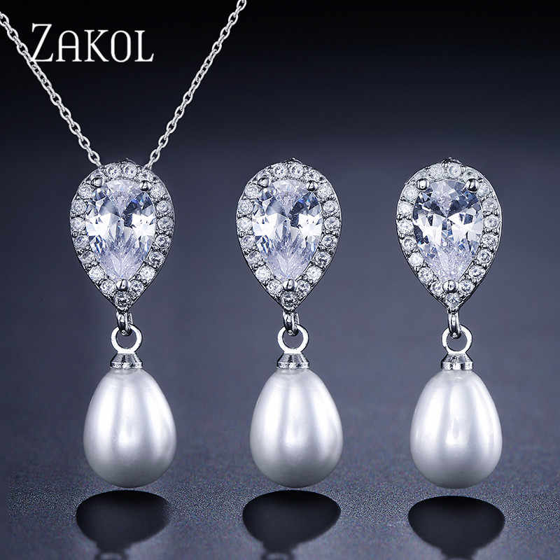 ZAKOL Exquisite Sliver Color Simulated Pearl Jewelry Set Fashion Cubic Zircon Earrings Neckalce Set for Women Party FSSP323