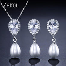 ZAKOL Exquisite Sliver Color Simulated Pearl Jewelry Set Fashion Cubic Zircon Earrings Neckalce Set for Women Party FSSP323(China)