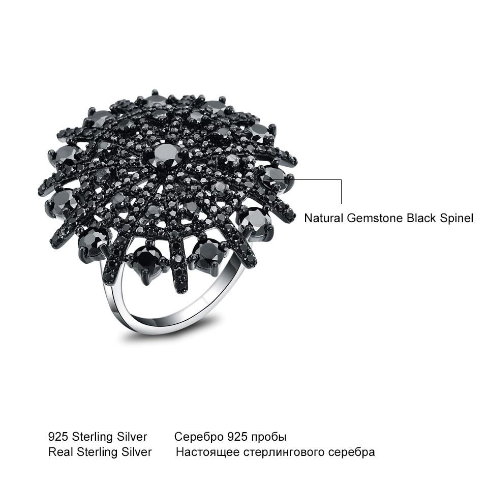 UMCHO Gemstone Təbii Qara Spinel Üzük Qadın Bərk 925 Sterling - Gözəl zərgərlik - Fotoqrafiya 5