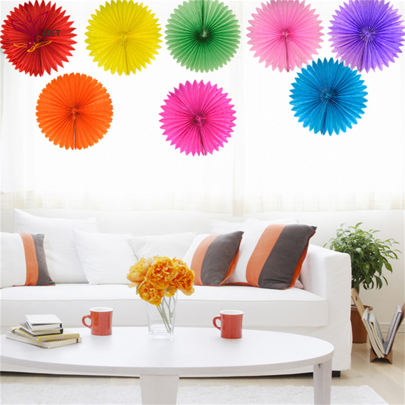 35cm 1pc Decorative Wedding Paper Crafts Flower Origami Fan DIY Birthday Party Decorations Supplies