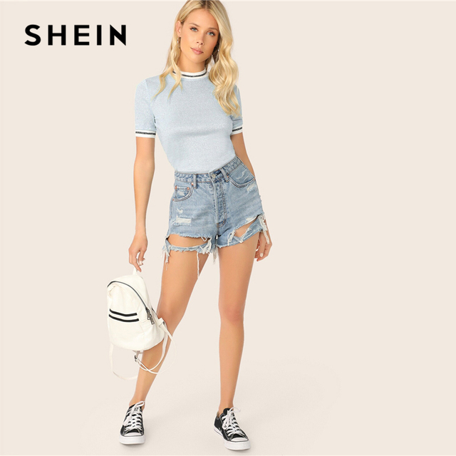SHEIN Glitter From Fitting Ringer Tee Spring Summer Autumn Slim Fit Blue Stand Collar Striped T Shirt Women Summer T-shirts 3