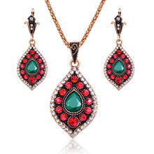 Turkish Wedding Jewelry Sets For Women Antique Gold Color Green And Red Crystal Water Drop Pendant Necklace And Earrings Set 20%