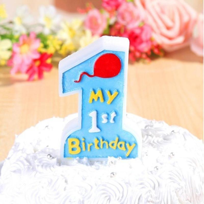 1pc Cute Cartoon Candle My 1st Birthday Kitchen Toothpick Cake Baby Anniversary Party Decor A6