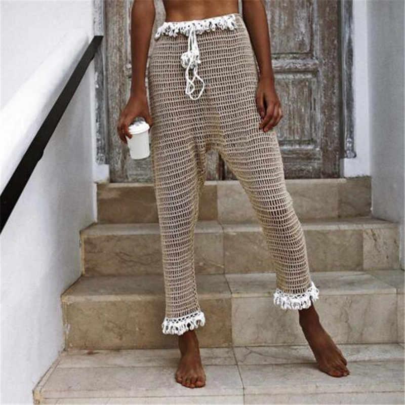 Yaz örme püskül hollow out plaj pantolonları kadınlar seksi see through mesh pantolon kadın güneş koruyucu tığ pantolon pantalones mujer