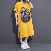 The 2017 Summer Tee Shirt Dress Size Dog Printed Long Slit T