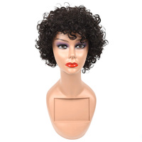 Salonchat Afro Curly Wig 100% Remy Human Hair Extensions For Black/White Women Brazilian Jerry Curl Black Human Hair Wigs