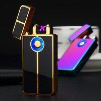 2018 New Ricaricabile USB Più Leggero Tocco Delle Dita A Doppio Arco Impulso Accendino Doppio Cross Fire Accendini Elettronici Senza Fiamma