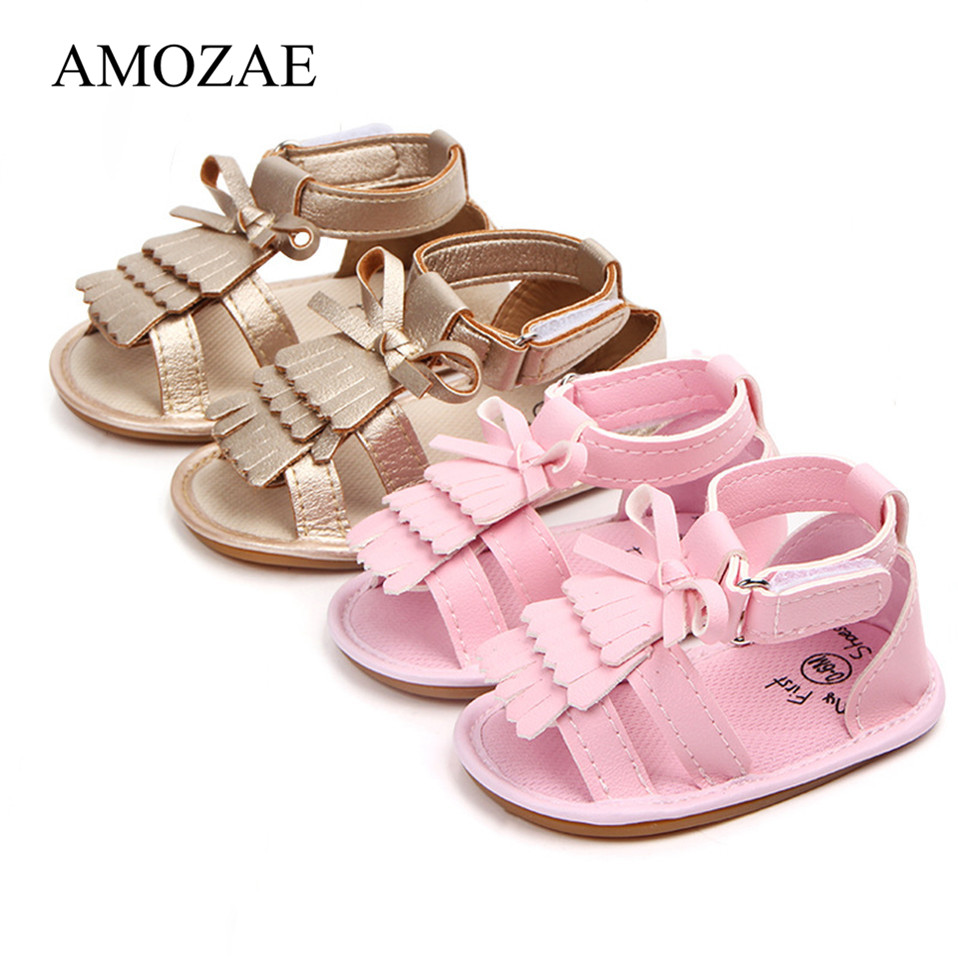 Summer sandals for newborn small baby girl bebek sandalet pu leather tassel with bow infant toddler sandals rubber soles kids shoes