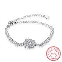 Ann Snow Romantic CZ Crystal Lotus Style Jewelry 925 Sterling Silver Bracelets Bangles Jewelry Charm Bracelet